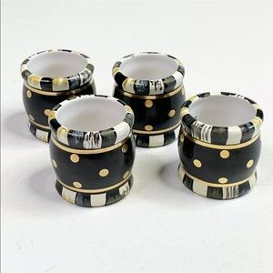 MacKenzie-Childs Courtly Check Napkin Rings set 4
